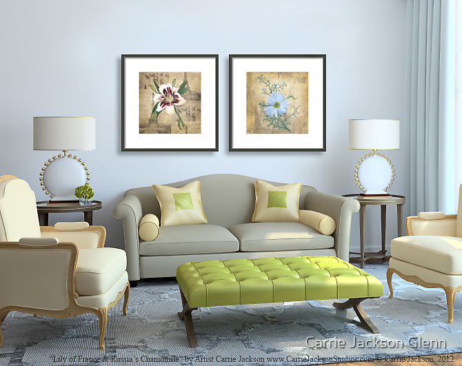"""Paintings """"Lily of France & Russia's Chamomile"""" Displayed in Setting by Carrie Glenn"""