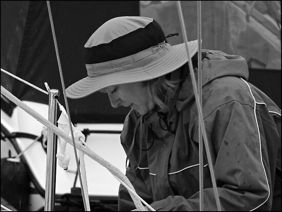 Getting the Sail Ready - Black and White by Yannik Hay