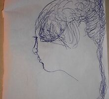 female head -(290312)- blue biro pen/A4 by paulramnora