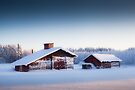 Barn in winter landscape by MikkoEevert