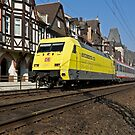EuroCity train passing Bacharach, Germany by David A. L. Davies