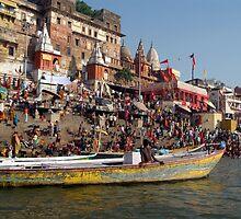 Sunday Bathing at Ahilyabai Ghat by SerenaB
