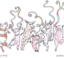 'Ribbon in the Sky'...piggies with ribbons of course! by SarahParsonsArt