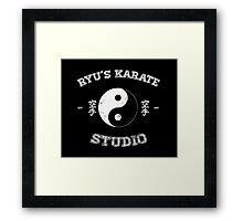 Ryu's Karate Studio - Black Version Framed Print