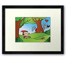 The Big Bad Wolf Spying On Red Riding Hood In The Woods Framed Print