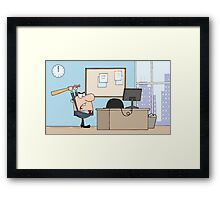Angry Businessman With Baseball Bat In Office Framed Print