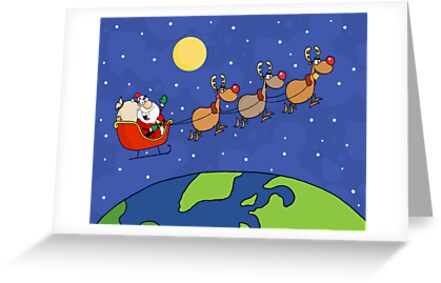 Santa Waving And Flying Over Earth by ChudTsankov
