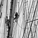 Mast scraping B&W by Woodie