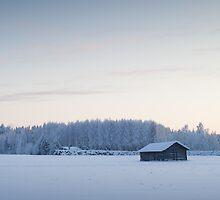Barn in winter landscape III by MikkoEevert