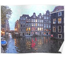Canal Houses in Amsterdam, Holland Poster