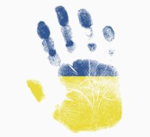 Flag Handprint - Ukraine (Faded) by SkinnyJoe