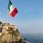 Italian flag and Manarola by Anne Scantlebury