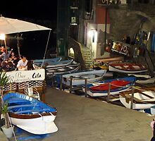 boats at night time by Anne Scantlebury