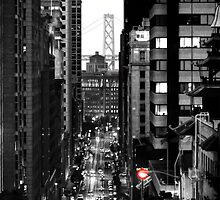 Black and White Photogrphy - 'Frisco Bridge and Red Light by Fojo