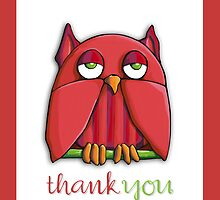 Red Owl Thank You Card by Mariana Musa