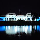 Reflecting  ~Old Parliament House ~ Light it up Blue Autism Awareness  by Kym Bradley