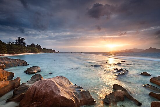 La Digue Sunset by Michael Breitung