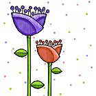 Fun Doodle Flowers purple orange Print by mrana