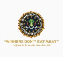 Winners Don't Eat Meat - Scott Pilgrim inspired Vegan Police Logo (transparent version) Kids Clothes