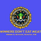 Winners Don&#x27;t Eat Meat - Scott Pilgrim inspired Vegan Police Logo (blue screen version) by AdrienneOrpheus