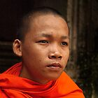 Buddhist Monk at Bayon Temple by GayeL Art