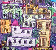 Greek Buildings, water colour & pen by Emily King