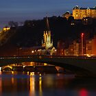 Bonaparte bridge at Lyon city by night by Debellez