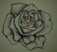 biro pen rose by KellC