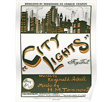 CITY LIGHTS (vintage illustration) Poster