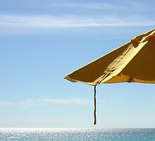 Yellow Beach Umbrella by AuntDot