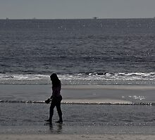 Walking on the beach by Brenda  Meeks