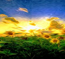 Sunrise Sun Flowers Oil Painting by Fred Seghetti