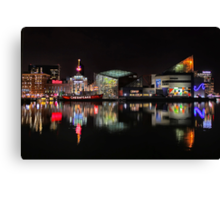 Inner Harbor in Baltimore, Maryland at Night Canvas Print