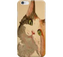 I'm All Ears: A Curious Calico Cat Portrait iPhone Case/Skin