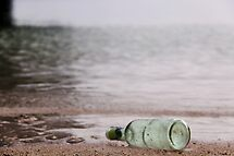 lonely bottle, message lost by lensbaby