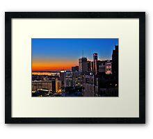 HDR Detroit Skyline Sunrise Framed Print