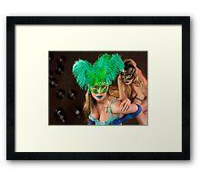 No identity, just feelings, bright carnival masks.. Framed Print