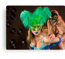 No identity, just feelings, bright carnival masks.. Canvas Print