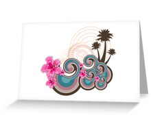 Tropical Waves & Pink Hibiscus Greeting Card