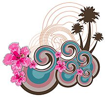 Tropical Waves & Pink Hibiscus Photographic Print