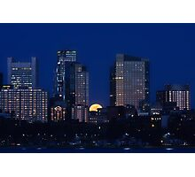 Pink moon, blue city Photographic Print