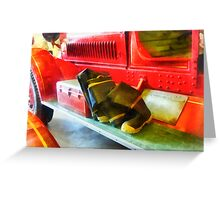 Two Pairs of Boots on Fire Truck Greeting Card