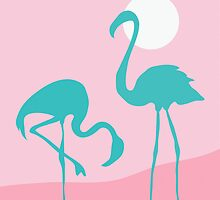 Two flamingos finding gun by Sofia Wrangsjo