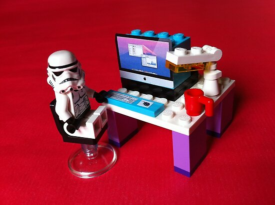 Stormtrooper is checking some statistics on his iMac by Kirk Arts