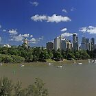 Brisbane Panorama With Abseiler by Noel Elliot
