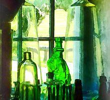 Green Bottles on Windowsill by Susan Savad