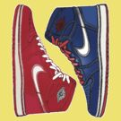 AIR JORDAN 1 RETRO: RED MEETS BLUE by S DOT SLAUGHTER