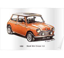 1990 Rover Mini Cooper Car Poster