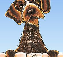 Wirehaired Pointing Griffon Over the Fence by offleashart