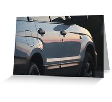 Sunset on a White Car Greeting Card